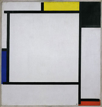 Here is a painting by Mondrian, to whose work Therese compares the walls of the cafeteria. I didn't know what it looked like, so here ya go. :)